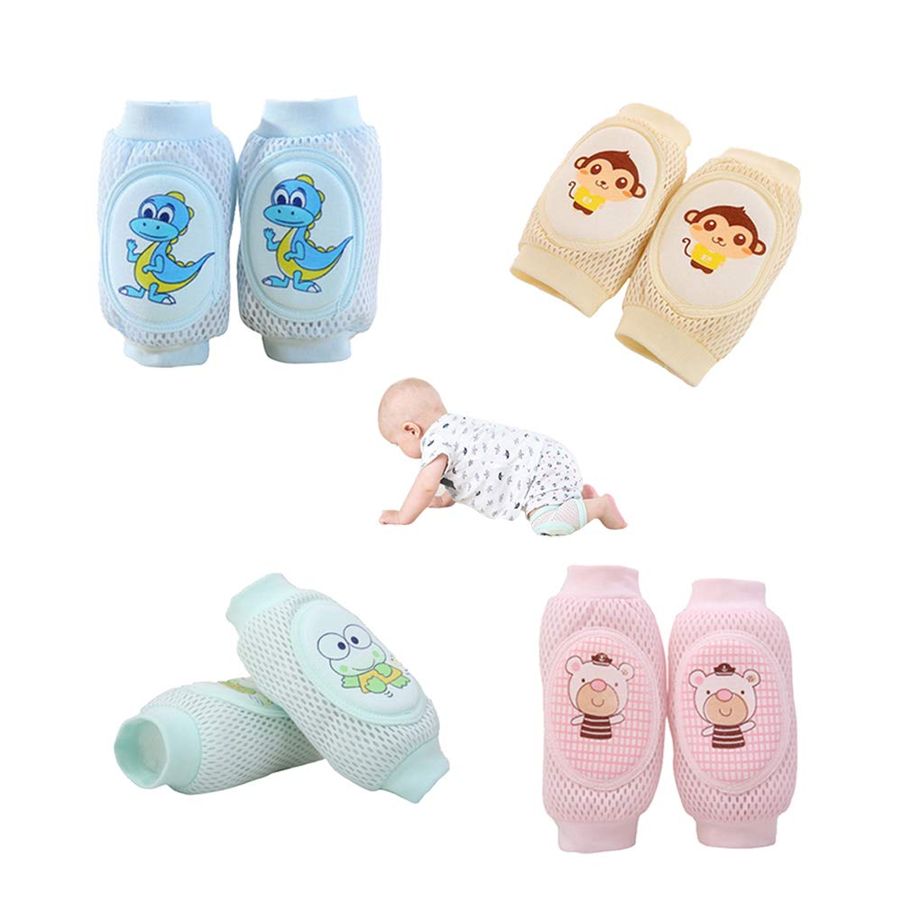 Baby Crawling Baby Knee Pads For Crawling Baby 4 Pairs Adjustable Breathable Protector by Creatience