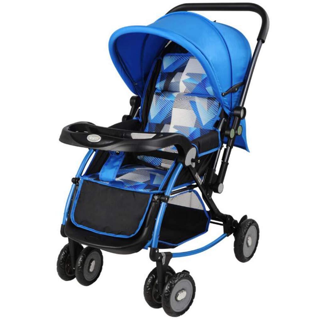 ベビーカーベビーカー軽量折りたたみ式シンプルリクライニングクレードルショック双方向新生児乳母車旅行バギー  blue B07SFCPLFZ