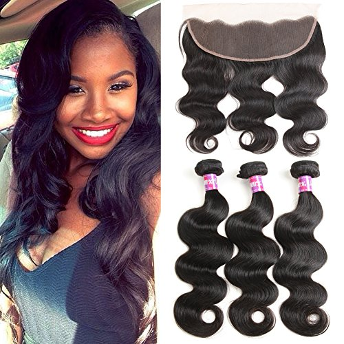 Brazilian Body Wave Bundles with Frontal (12 14 16+10 Frontal) 100% 8A Unprocessed Brazilian Human hair Bundles with Frontal Natural Color