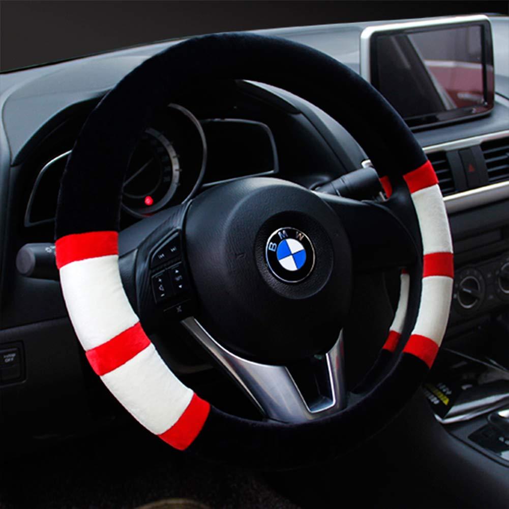Car Steering Wheel Cover Universal Winter Plush Warm Non-Slip Breathable 37-38CM Steering Wheel Cover - Men And Women, Blue ZJWZ