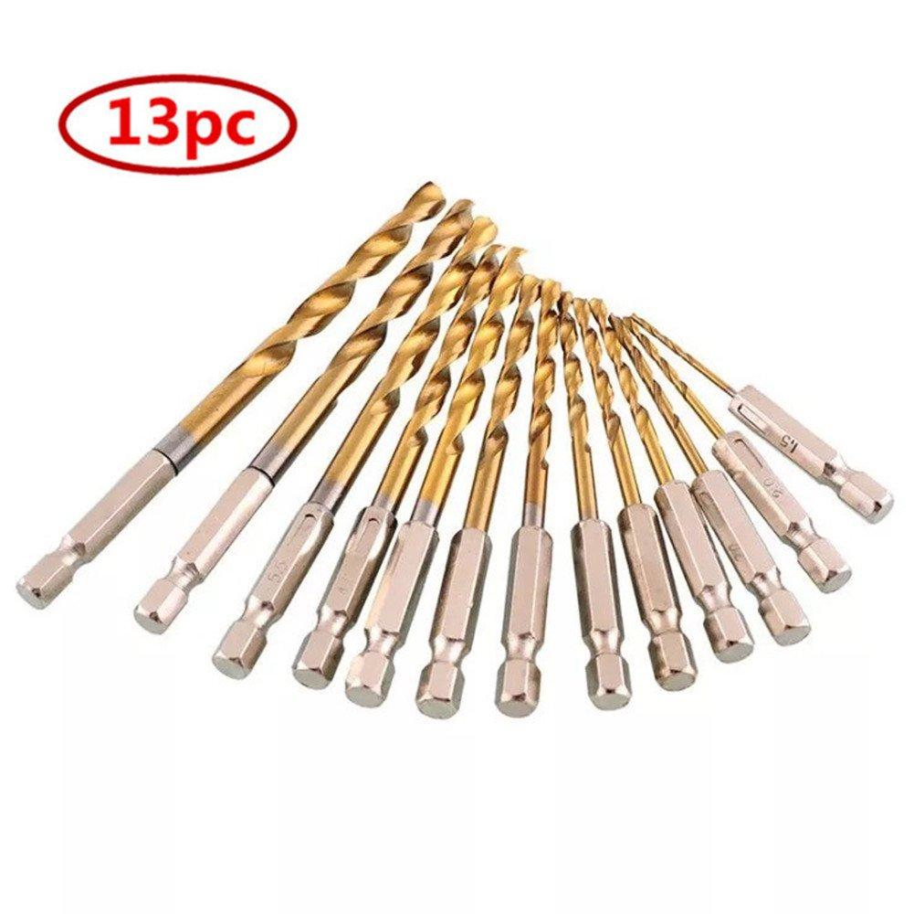 Ebshow 13 pcs HSS 1/4 Hex Tige de forets hé licoï daux Foret spirale hexagonal avec ensemble de tige de perç age Substituer Bois Wood Drill Micro Foret 1, 5– 6, 5 mm 5-6 5mm