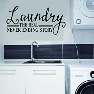 WOVTCP Laundry Room - The Real Never Ending Story Wall Quote Decal Funny Vinyl Wall Decals - Vinyl Wall Art