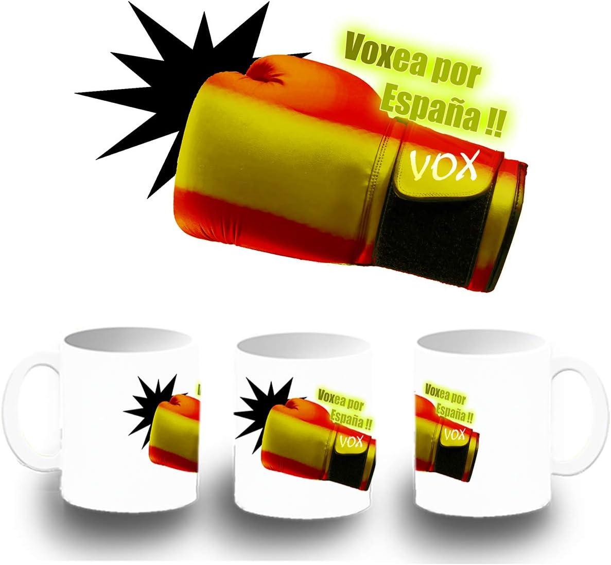 MERCHANDMANIA Taza DE PLASTICO VOXEA por ESPAÑA Plastic mug: Amazon.es: Deportes y aire libre