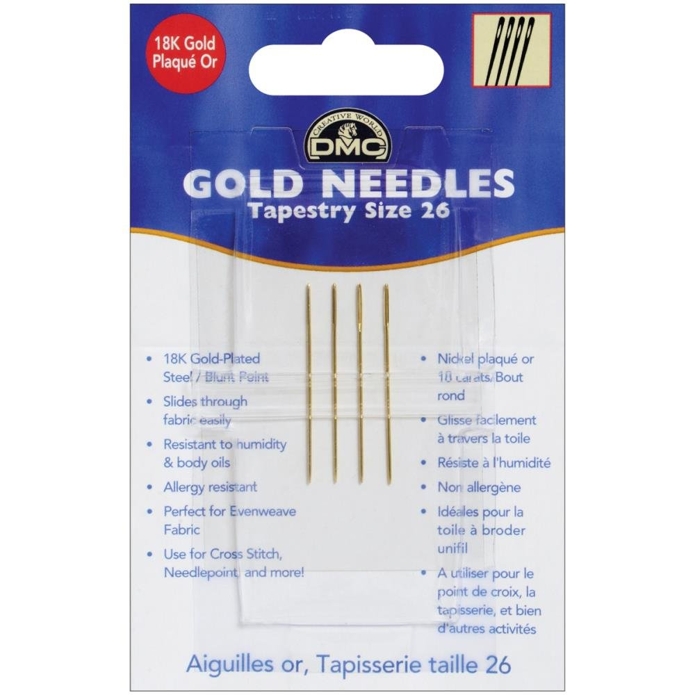 4 Needles Each Package 24 /& 26 3 Item Bundle: Gold Tapestry Needles Size 22