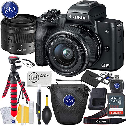 Canon EOS M50 Mirrorless Camera w/15-45mm (Black) + 32GB + Essential Photo Bundle