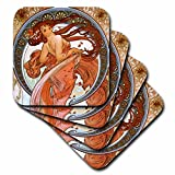 3dRose cst_171467_2 Mucha-Muse of Dance-Soft Coasters, Set of 8