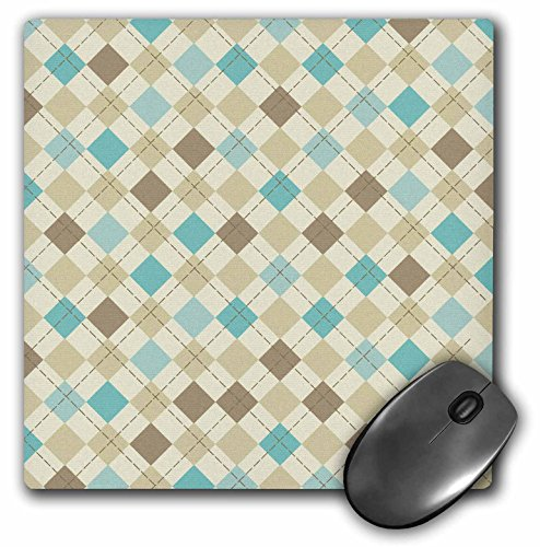 Argyle Roses (3Drose LLC 8 X 8 X 0.25 Inches Mouse Pad, Brown and Blue Modern Trendy Argyle Pattern Design (Mp_113389_1))