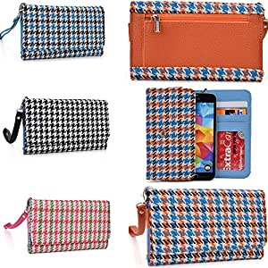 Smartphone wallet wristlet Houndstooth pattern in Baby blue/ Camel brown: Universal design fits Pantech Flex/Flex P8010