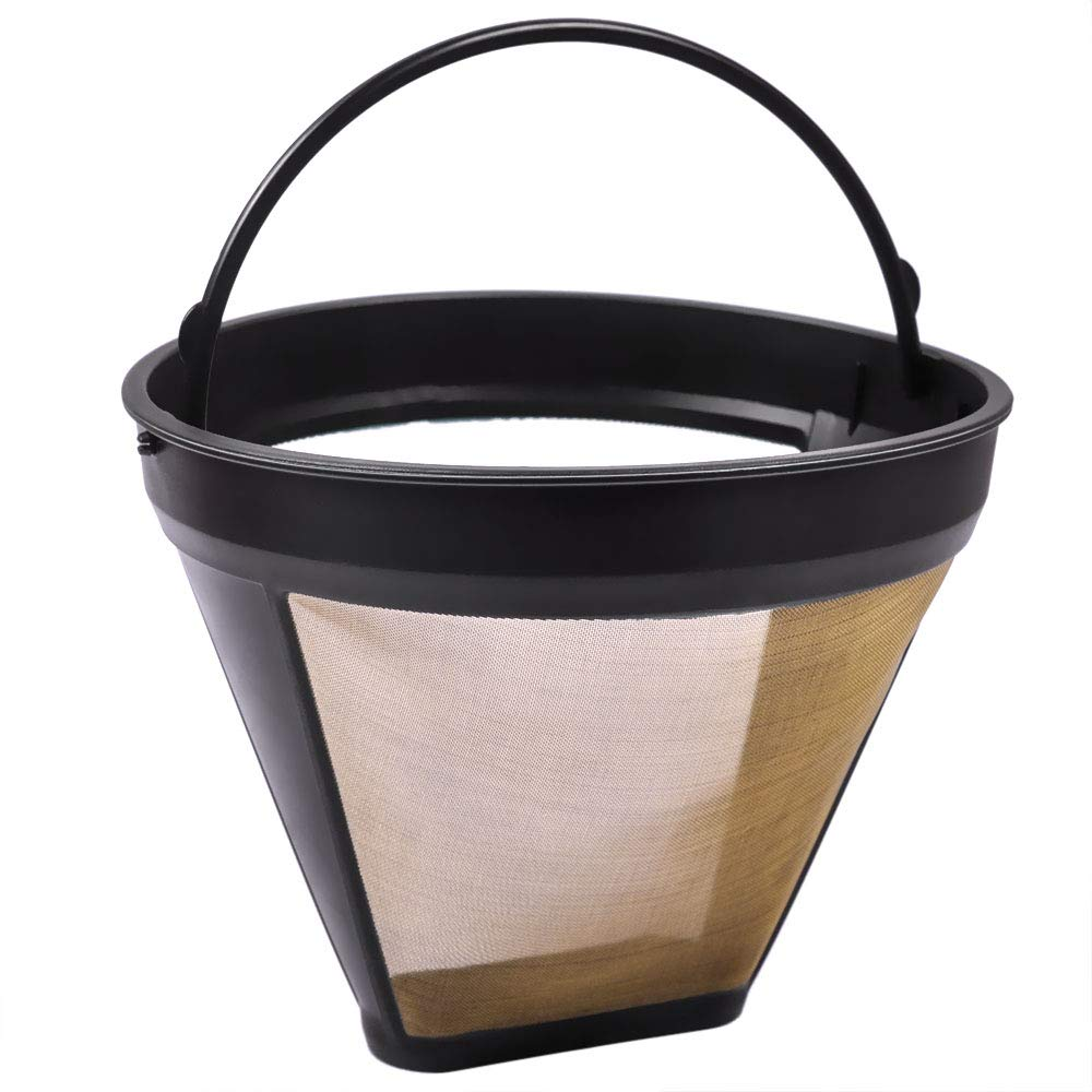 KeePow Reusable #4 Cone Coffee Filter Mesh GTF Gold Tone Coffee Accessories for Cuisinart Coffeemakers 8-12cup, Fits Braun BrewSense & MORE Brands