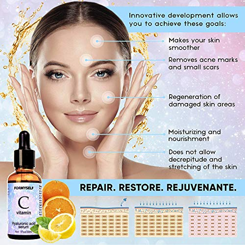 61IMXvtpXZL - Vitamin C Serum For Face 20% with Hyaluronic Acid 1 Fl.Oz Vitamin E Natural Anti Aging & Wrinkle Retinol Facial Serum Sun Damage Corrector Remover for Face Dark Circles Under Eye Fine Lines Treatment