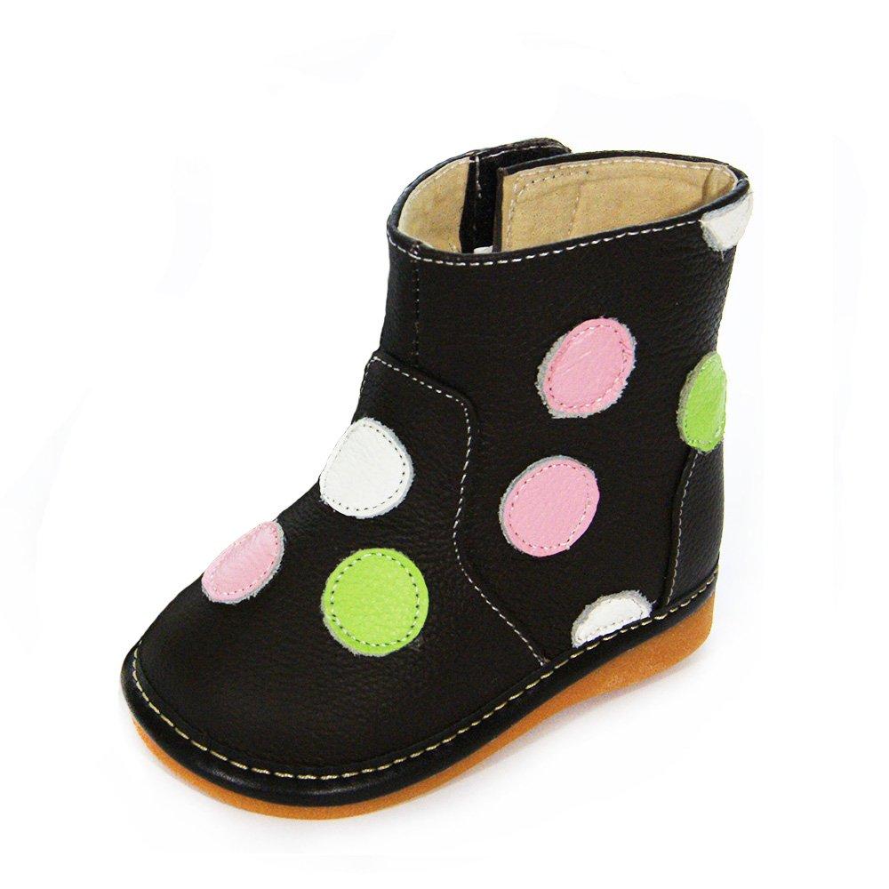 HLT Toddler/Little Kid Girl Polka-dot Brown Squeaky Boot [US 10 / EU 26]