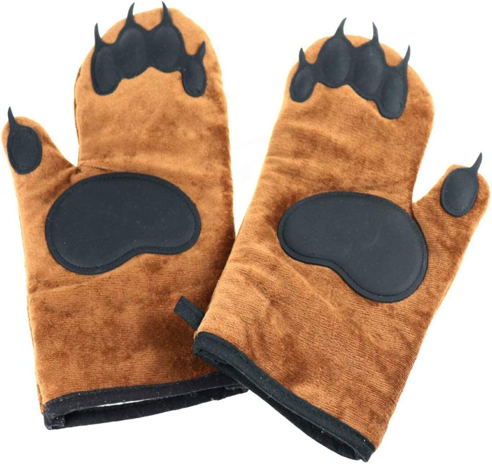 Fivebop Bear Oven Gloves Mitts Kitchen Silicone Non Slip Heat Resistant Gloves Mitten (Brown)