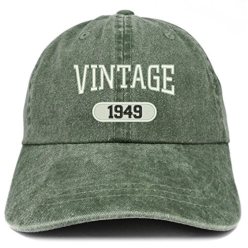 (Trendy Apparel Shop Vintage 1949 Embroidered 70th Birthday Soft Crown Washed Cotton Cap - Dark Green)