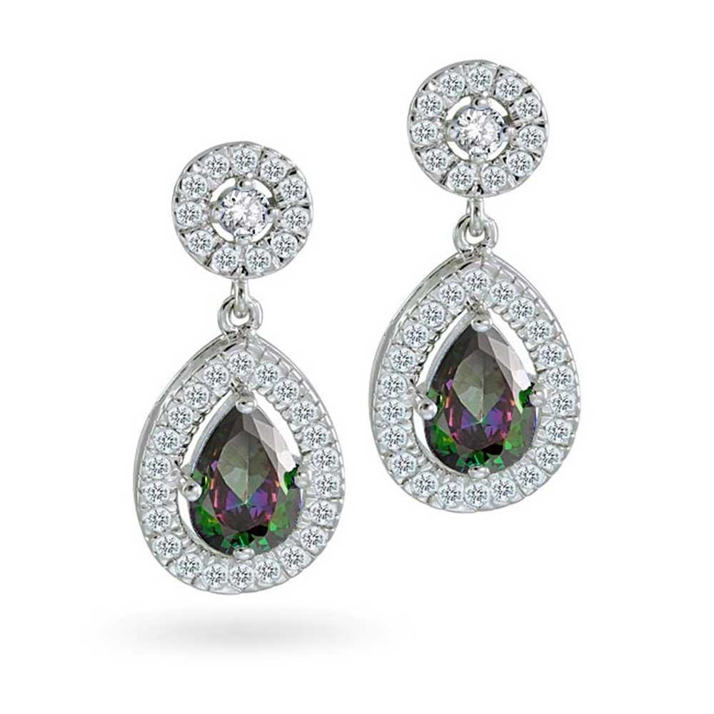 5d887de0ab879 Classic Black Mystic Rainbow CZ Halo Teardrop Pear Shape Dangle Earrings  For Women Cubic Zirconia Rhodium Plated Brass