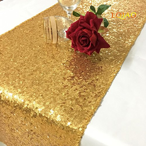 12'6' Runner (LQIAO Gold Sequin Table Runner 12 by 72-inch, Wedding Party Dinner Reception, Event Bridal Wedding Runner, Birthday Party Runner, Dinner Party Runner, Shower Ready to Ship!)