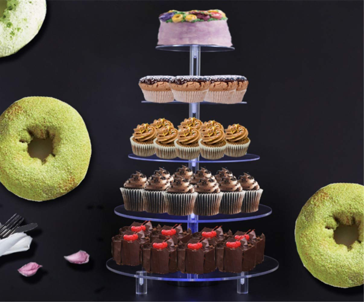 BonNoces 5 Tiers Round Cupcake Stand with LED Light - Clear Acrylic Cake Dessert Stand - Tiered Pastry Tree Tower with Base for Wedding, Birthday Party by BonNoces (Image #7)