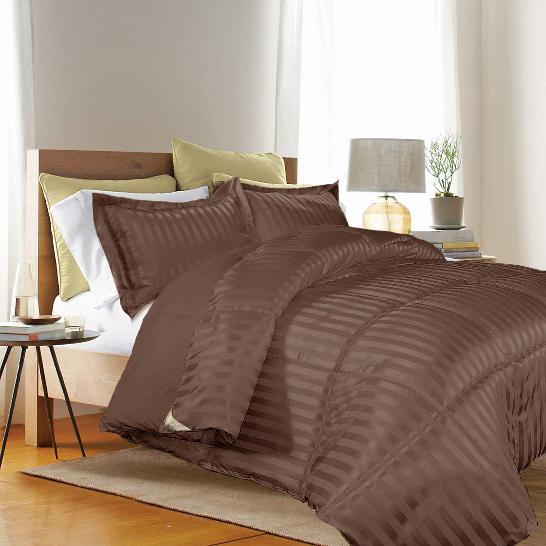 Blue Ridge Home Fashions Kathy Ireland-Essentials Microfiber Damask Stripe/Solid 3-PC Reversible Down Alternative Set Twin in Chocolate Color Comforter