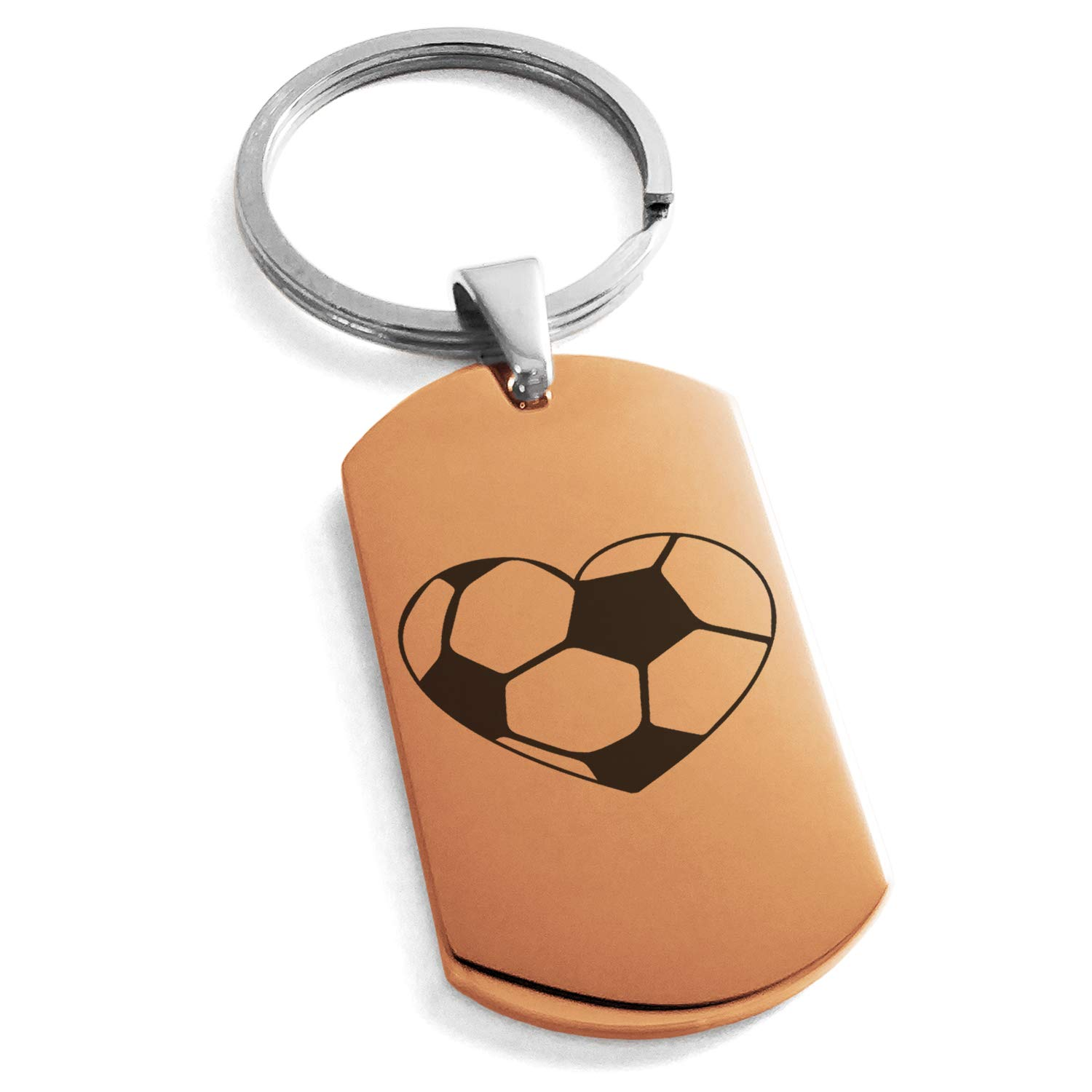 Tioneer Rose Gold Stainless Steel Love Soccer Heart Engraved Dog Tag Keychain Keyring
