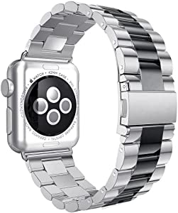 Shengbiao Compatible with Apple Watch Band 42mm 44mm,Stainless Steel Men iWatch Wristband Metal Strap Replacement Link Bracelet for Apple Watch Series 4 3 2 1 (42/44mm Silver/Black)