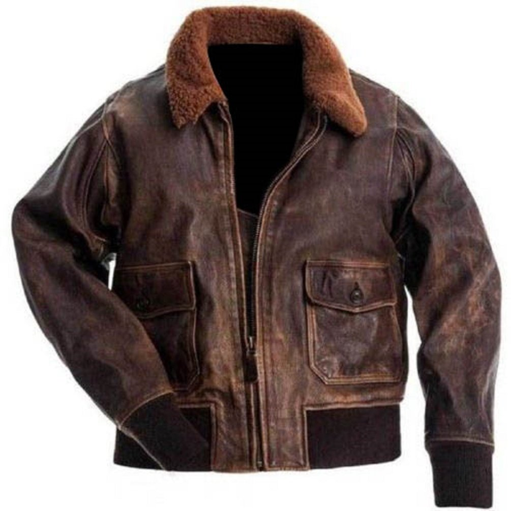 A2 Navy Flight Men Distressed Brown Genuine Leather Aviator Bomber Jacket