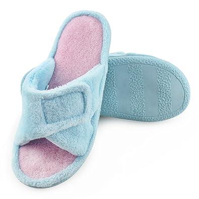 887be93908a569 Magtoe Women Memory Foam Indoor Microfiber Terry Adjustable Open-Toe House  Slipper Blue