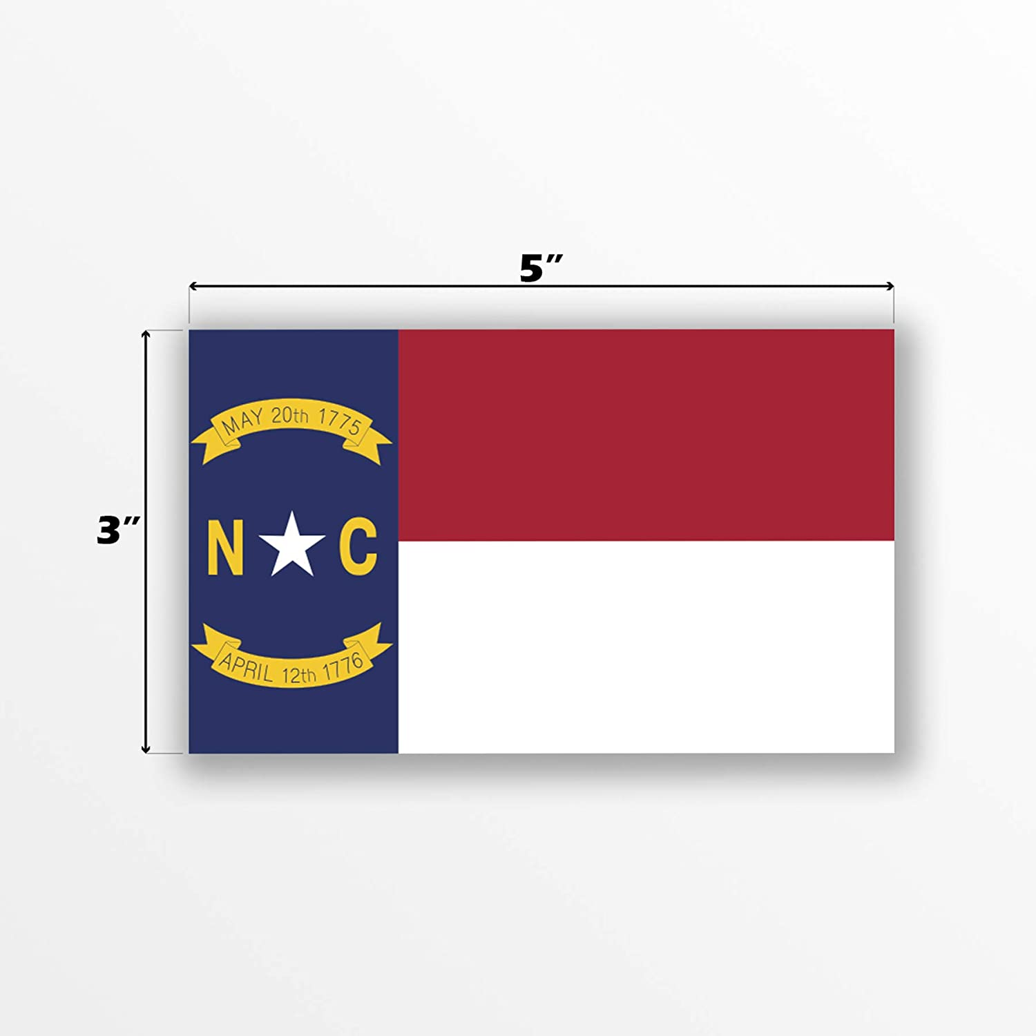 2-Pack North Carolina State Flag Decal Sticker | 5-Inches by 3-Inches | Premium Quality Vinyl | PD339