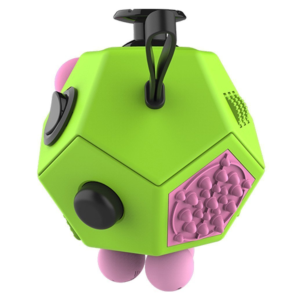 JackieTD Fidget Attention Cube Relieves Stress and Anxiety Educational Development Toys for ADD, ADHD, Anxiety, and Autism Children and Adults -KeyChain Gift (Prime 12 Sided)