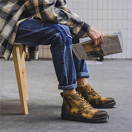 HL-PYL - Stiefel koreanische Version von Camouflage Hoher Schuh kurze Stiefel Martin Stiefel Englisch zurück zu alten Schuhe 41 Farbe besessen