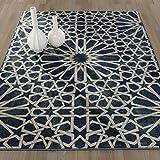 "Ottomanson Authentic Collection Contemporary Geometric Trellis Pattern Design Area Rug, 7'10"" X 9'10"", Blue Review"