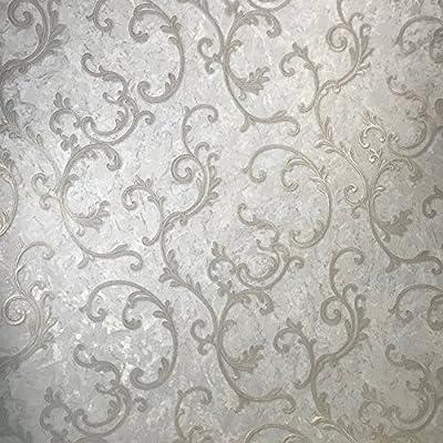 paste the wall only Embossed Slavyanski modern wallcoverings roll victorian plaster effect damask pattern Vinyl Non-Woven Wallpaper white ivory silver gold metallic textured glitters 3D vintage style