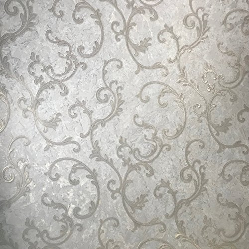 paste the wall only Embossed Slavyanski modern wallcoverings roll victorian plaster effect damask pattern Vinyl Non-Woven Wallpaper white ivory silver gold metallic textured glitters 3D vintage style