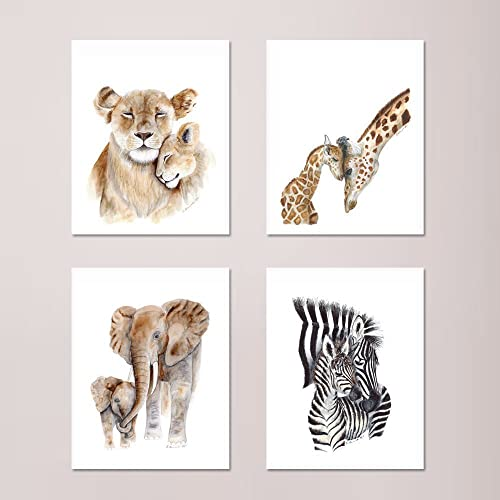 amazon com african mom and baby animal print set of 4 prints