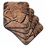 3dRose cst_85093_2 French Polynesian Wooden Door Carving-Oc13 Jse0012-Jan and Stoney Edwards-Soft Coasters, Set of 8