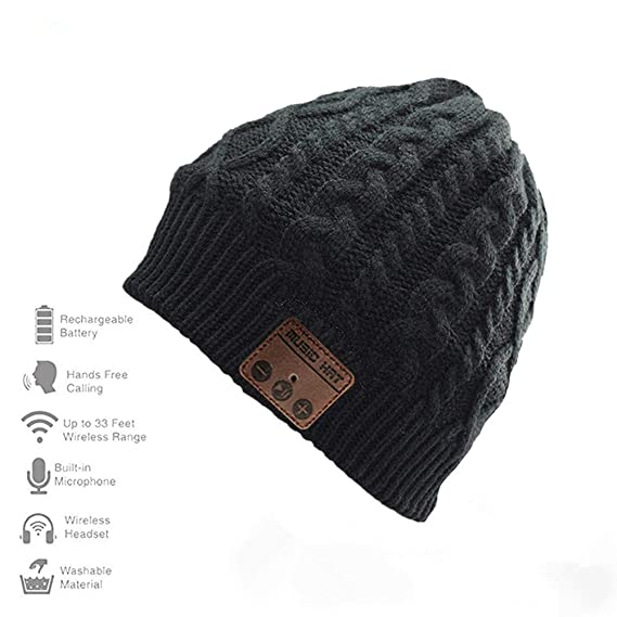 e7f35f4f6fccf1 Happy-top Wireless Bluetooth Beanie Hat 4.2 Unisex Winter Warm Knitted Hat  Trendy Cap with