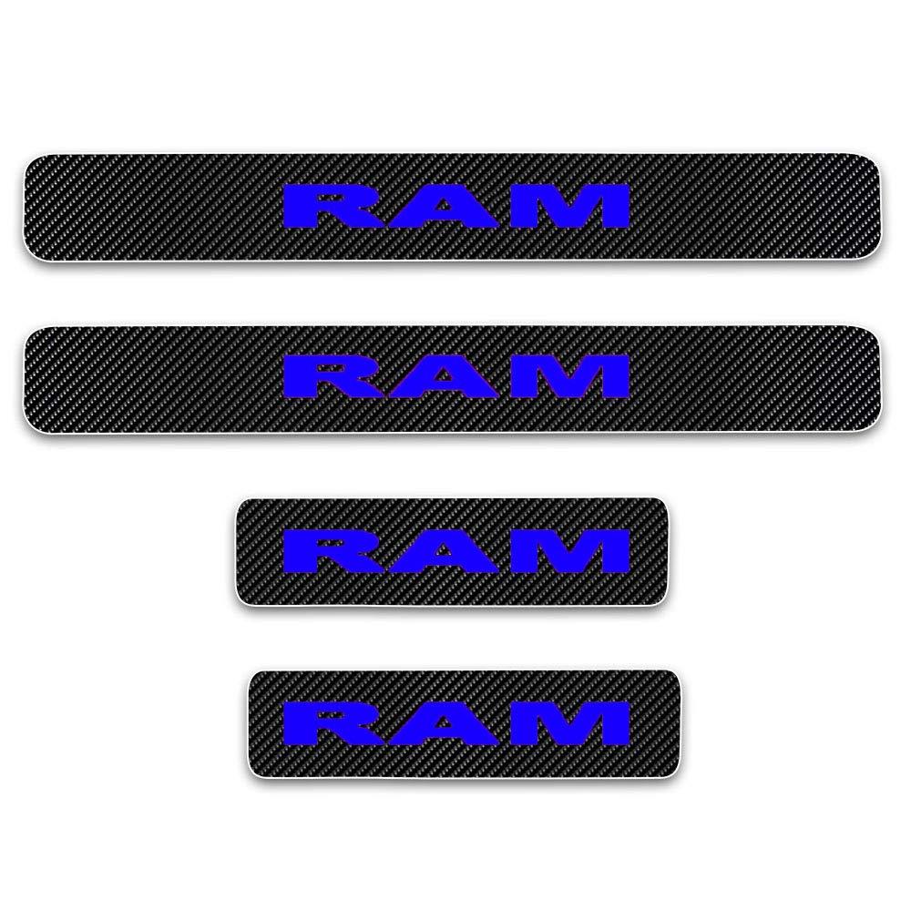 SENYAZON RAM Sticker Carbon Fibre Vinyl Reflective Car Door Sill Decoration Scuff Plate for Dodge RAM Accessories red/&Orange