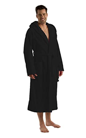 aa5347da89 Hooded Bathrobe for Women and Men Cotton Velour Terry Adult Robe at Amazon  Men s Clothing store  Long Hooded Robe