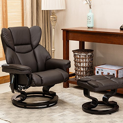 Trento Heat and Massage Leather Swivel Recliner - Brown