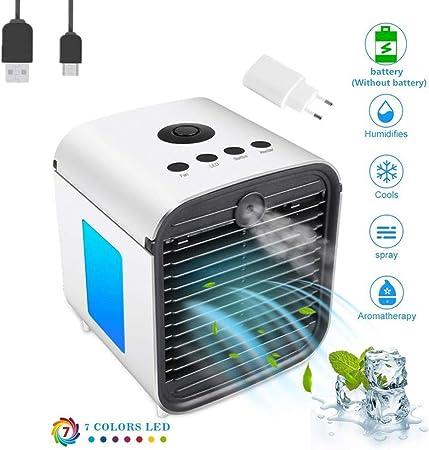 Nifogo Aire Acondicionado, Aire Refrigerador, Portatil Climatizador Evaporativo, 3-en-1 Mini Ventilador Humidificador Purificador de Aire, a Prueba de Fugas, Nuevo Papel de Filtro (Blanco 2): Amazon.es: Hogar