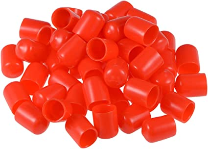 uxcell Screw Thread Protectors 9mm ID Round End Cap Cover Red Flexible Tube Caps Tubing Tip 100pcs