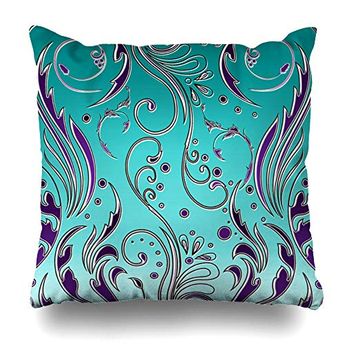 Ahawoso Throw Pillow Cover Pillowcase Floral Flourish Turquoise Purple Swirls Decorative Pillow Case Home Decor 16x16 Square Size Cushion Case