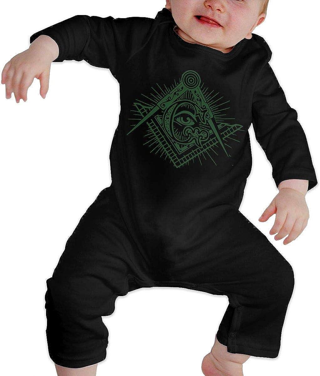 Moniery Freemason Eyes Long Sleeve Romper Bodysuits for Baby Girls Black
