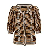 Le Mont Saint Michel Womens Gold Printed Cardigan Brown Multi Small