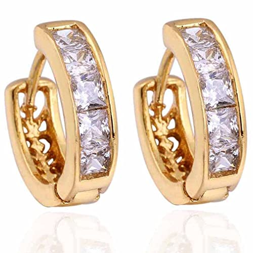 Yazilind Schmuck Charming Glatte Gold hohle Design- Inlay Kristall Clear Rechteck Kleine Ohrringe für Frauen