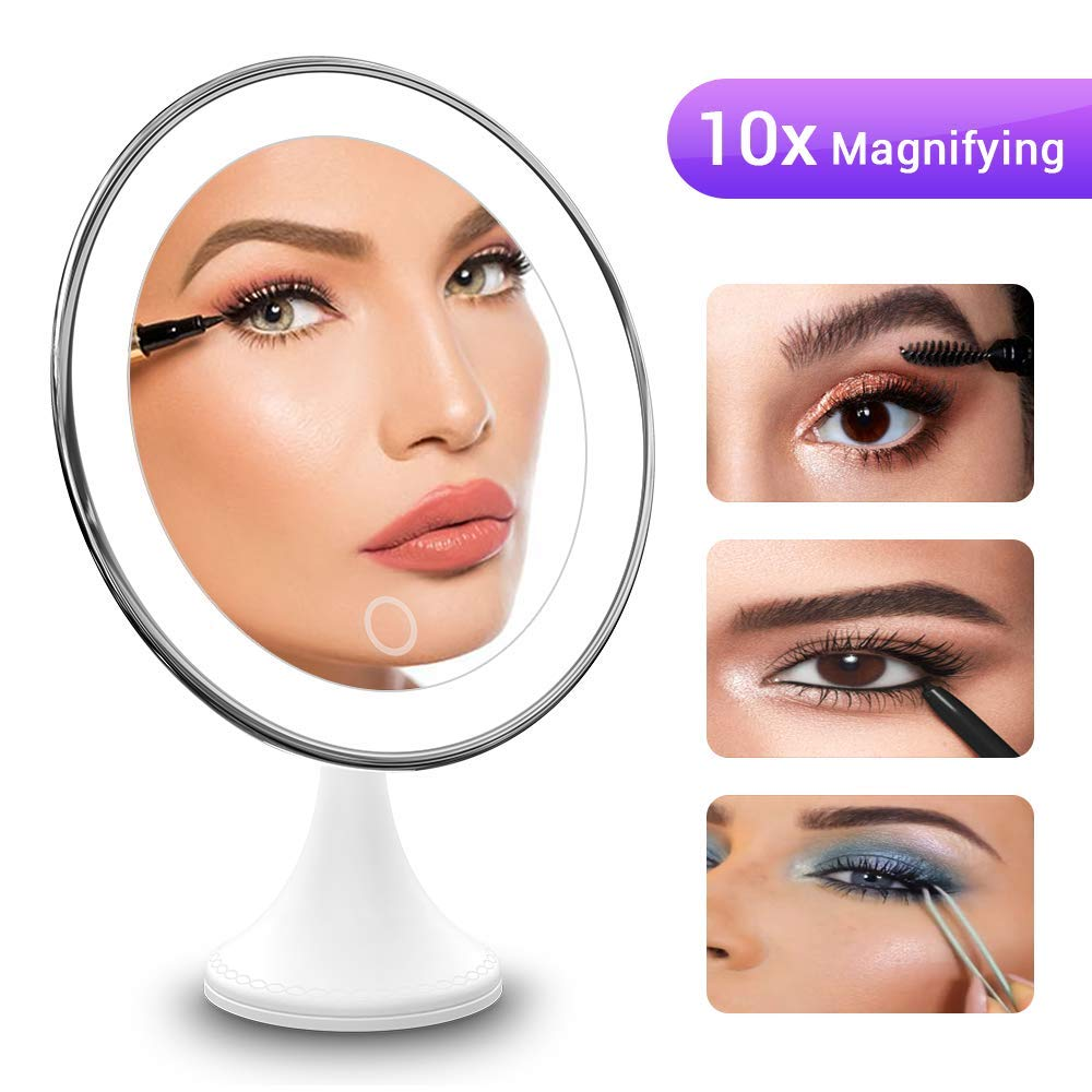 BEQOOL Makeup Mirror 10X Magnifying Mirror with Light,LED Lighted 360°Rotation Portable Hand Cosmetic Mirror with Strong Sticky Suction Cup for Home Tabletop Bathroom Shower Travel