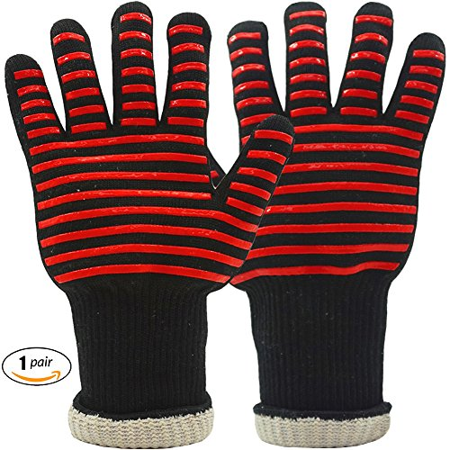BBQ Gloves For Grilling Cooking Kitchen Heat Resistant Gloves with 3 Layers Protection, Long Forearm Protection, 1 Pair - BBQ Grill Accessories