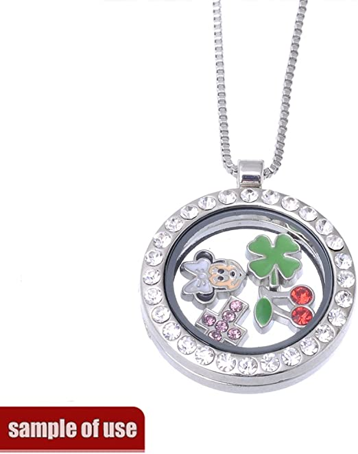 rubyca Metall Floating Charms f/ür Glas Living Memory Medaillon Gro/ßhandel von Gold Silber Farbe Viel Mix 10/DIY 100PCS