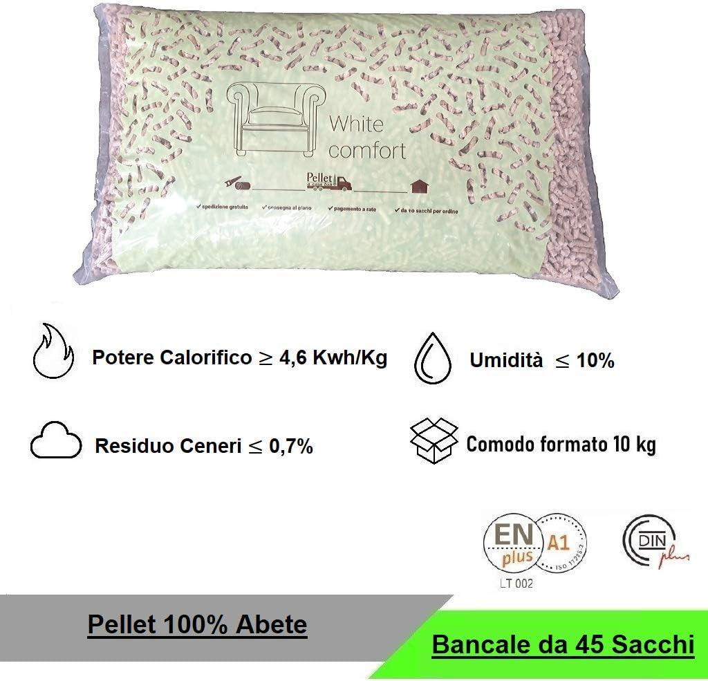 1 PELLET WHITE COMFORT 100/% ABETE DOPPIA CERTIFICAZIONE ALTO POTERE CALORIFICO