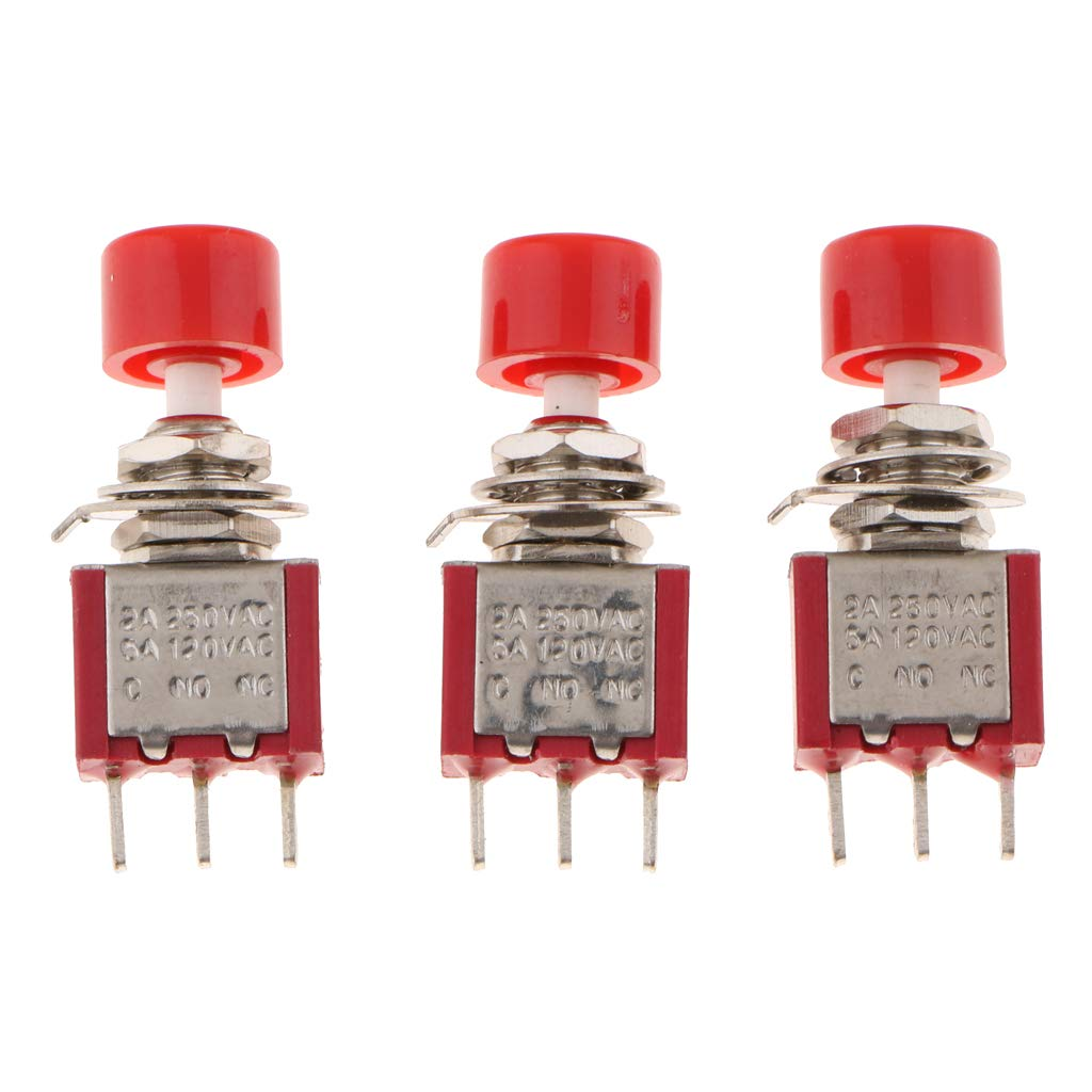 FLAMEER 3 Pcs 6mm Interrupteur Spst on-Off-on Miniature Mini Bouton a Bascule Ds-612