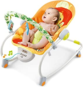 Portable Baby Swing Cradle, Folding Baby Swing & Bouncers with Music and Safety Belt Baby Bouncer Seat Rocking Chair for Sitting up (Multicolour-B)