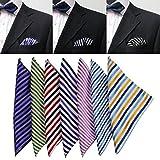 Bazaar Stripe Silk Mens Suit Pocket Square Jacquard Weave Handkerchief Silk Scarf